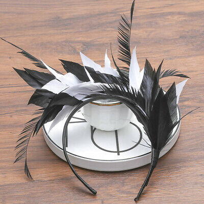 Women Feather Headband Hairband Festival Hair Hoop Costume Melbourne Cup Party