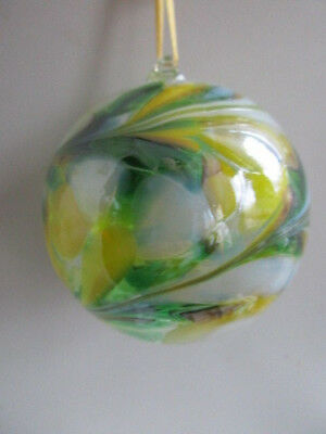 Glass Mouth Blown Spirit or Friendship Ball Lemon/Green 8cm Boxed  Ideal Gift