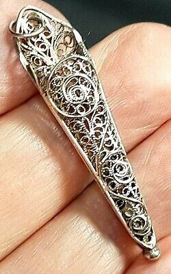 Antique Islamic Ottoman Empire Fine Silver Filigree Posy Holder c 1890