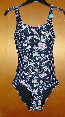 950e50284b M&S 'Secret Slimming' Non-Wired Padded Floral Print Swimsuit 8L Black ...
