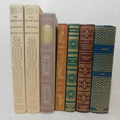 Lot of 7 Vintage DECORATIVE hardcover Staging Books old antique mixed colors