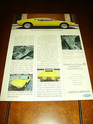 1973 De TOMASO PANTERA SPORTS CAR  ***ORIGINAL VINTAGE AD*** BUY IT NOW!!!