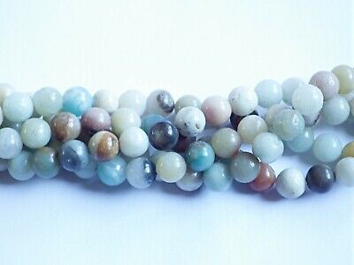 8mm Multicolour Amazonite Round Beads - B Grade (approx. 46 beads)