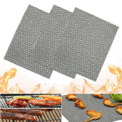 3Pcs Grill Mat BBQ Mesh Non Stick Teflon Cooking Fish Meat Grilling Sheet Liner