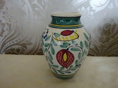 Vintage Retro Ceramic Pottery Green Red hand painted Vase 15cm Tall