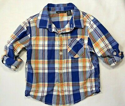 Tommy Hilfiger Boys 24 Months Blue Orange Plaid Button-Down Shirt with Flaw