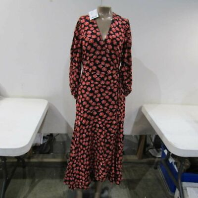 ece35691 GANNI WOMENS PRINTED Crepe Wrap Dress Sz 34/XS Fiery Red - $80.00 ...