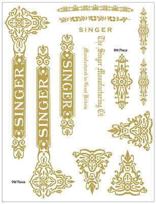 Singer Model 9w Sewing Machine  Waterslide Restoration Decals