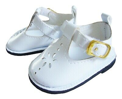 """White T-Strap Shoes for 18"""" American Girl Doll Clothes"""
