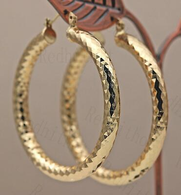 "18K Gold Filled Earrings 2.1"" Big Hoop Geometry Concave Bling Bling Party UN"