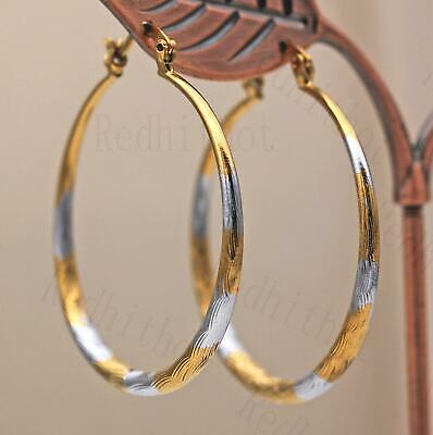 "18K Gold Filled Earrings 1.7"" Big Hoop 2-Color-Plated Geometry Concave Party UN"