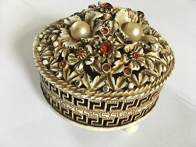 Antique Trinket Box Chinese Design With Lovely Filigree Details Unique