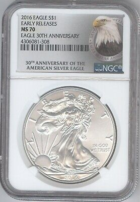 2016 American Silver Eagle S$1 + MS 70 + 30th Annivesary + NGC + No Reserve!
