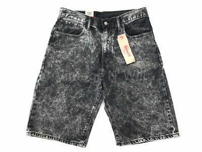 """Levis Jeans 569 Mens Black Acid Wash Loose Straight 12"""" Denim Shorts Relaxed"""
