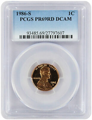 1986-S Lincoln Cent PR69RD DCAM PCGS Proof 69 Red Deep Cameo