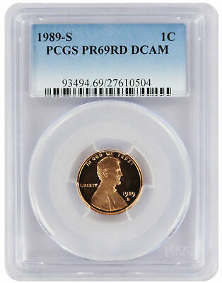 1989-S Lincoln Cent PR69RD DCAM PCGS Proof 69 Red Deep Cameo