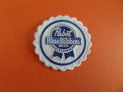"""PABST BLUE RIBBON"""" BEER  white & blue  Embroidered 3 x 3 Iron On  Patch"""