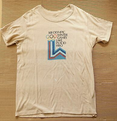 "Vintage 1980 XIII OLYMPIC WINTER GAMES T SHIRT - LAKE PLACID 80s/M/L (40"" Chest)"