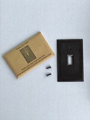 Bakelite Single Gang Toggle Light Switch Plate Brown Standard New Old Stock