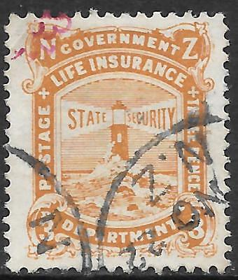 NEW ZEALAND 1913 3d yellow-brown Life Insurance, used. SG L30. Cat.£38.