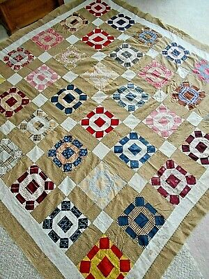 Antique 1800's Quilt Top Broken Wheel Block Indigo Pink on Pink Mustard Yellow G