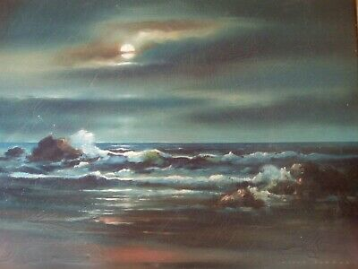 Oil on canvas moonlight coastal seascape in its original frame, DAVID NAHMAD.