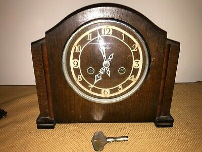 Wooden Art Deco Chiming Mantel Clock By Enfield