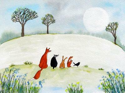 ORIGINAL Watercolour Painting: ANIMALS:  FOX, BADGER, HARE, SQUIRREL, BIRD/MOON
