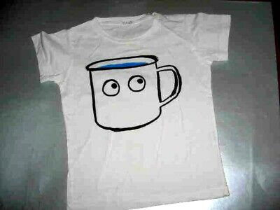 Picnik White S/s Tee With Stencil Of Cup With Eyes Sz. 4Y