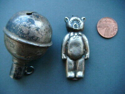 2x Antique / Vintage Baby Rattle - Silver Plate - ball shaped & bear shaped