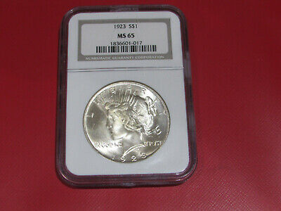 1923 Silver Peace Dollar  coin, MS65 NGC