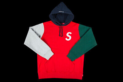 48e2f0bc Supreme S Logo Colorblocked Hooded Sweatshirt Red Size Large Ss19 Hoodie Cdg