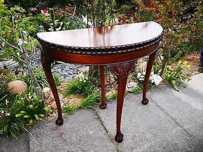 Antique Style Chippendale revival solid Mahogany folding card - console table