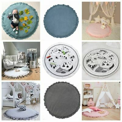 Carton Animal Soft Cotton Crawling Carpet Round Lace Blanket Baby Play Mats