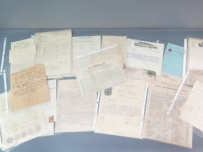 25+ Lot Antique Merchant Business Letters Statements Late 1800s-Early 1900s