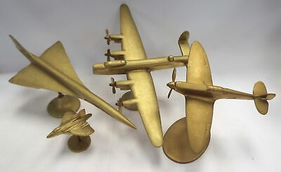 3 x Vintage SOLID BRASS Airplanes Ornaments Figures - B73
