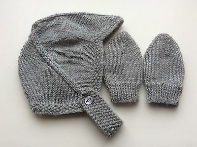 Hand Knitted Baby Hat & Mitts - To Fit 3 - 6 Months - All Colours Available