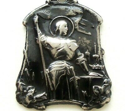 Art Nouveau Antique Silver Medal Pendant To Saint Joan Of Arc