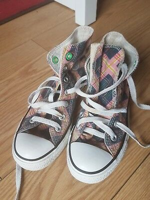 Girls Checkered Patterned High Top All Star Converse Trainers Size Uk 3