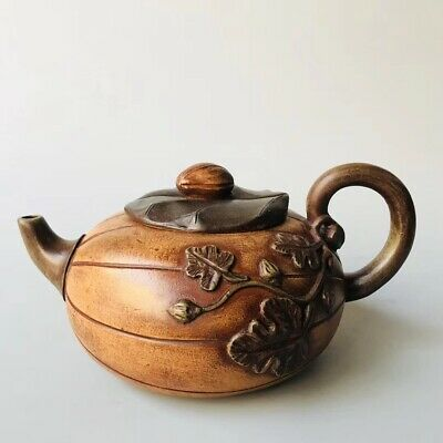 Chinese Exquisite Yixing Zisha Teapot Handmade Carved Flower 500CC ZSH57