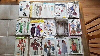 Vintage lot of 50 Sewing patterns Advance McCalls Simplicity Vogue Cut Variety