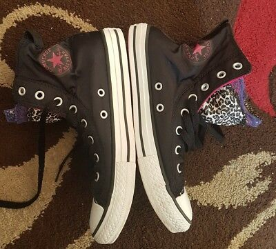 Girls Silky High Top All Star Converse Trainers Size Uk 3