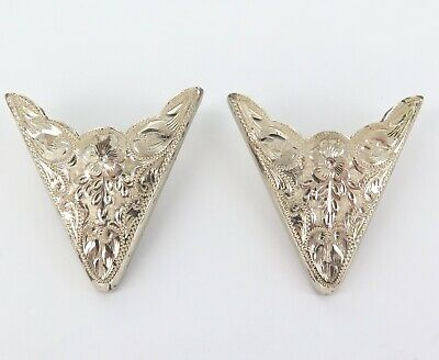 Vintage Sunset Trails Matching Pair Large Sterling Silver Collar Tips.