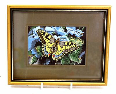 CASH 'Old World Swallowtail Butterfly' WOVEN EMBROIDERED Artwork / Framed - N10