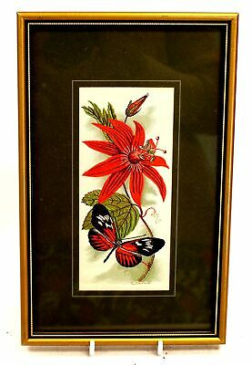 CASH 'Passion Flower Butterfly' WOVEN EMBROIDERED Artwork / Framed - N10