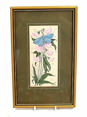 CASH 'Common Blue Butterfly' WOVEN EMBROIDERED Artwork / Framed - N10