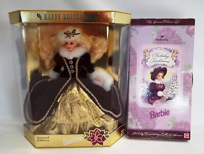 Pair Of BARBIE Collectable Dolls - Christmas Holiday Editions - B87