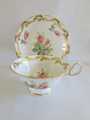"Vintage Royal Chelsea England ""Moss Rose"" Wide Mouth Teacup & Saucer Pink Gold"