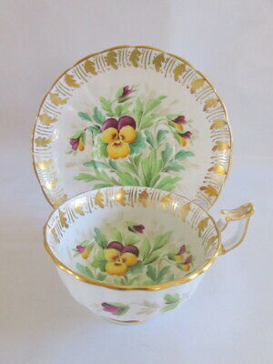 Vintage Royal Chelsea England Pansies Teacup Saucer Purple Yellow Fancy Gold