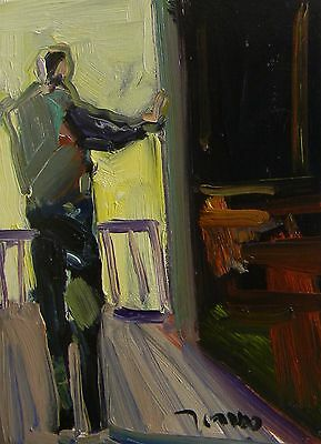 JOSE TRUJILLO  Oil Painting Modern Figure Standing Door Impressionist 9x12 art